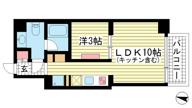 物件番号: 1025870275 BUCCI KOBE MOTOMACHI  神戸市中央区元町通3丁目 1LDK マンション 間取り図