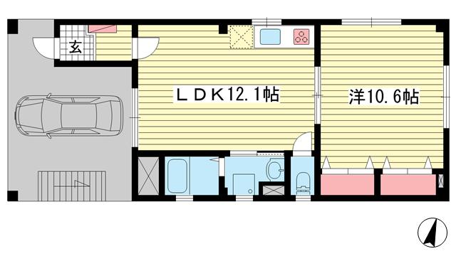物件番号: 1025870305 リーフマンション  神戸市中央区旭通2丁目 1LDK マンション 間取り図