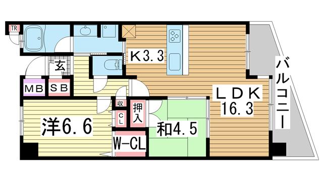 物件番号: 1025870363 レジュール ザ・元町駅前  神戸市中央区北長狭通4丁目 2LDK マンション 間取り図