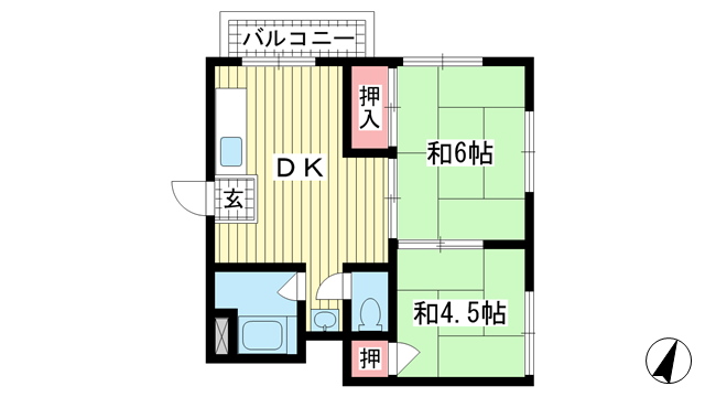 物件番号: 1025870549 ロイヤル中山手  神戸市中央区中山手通7丁目 2DK マンション 間取り図