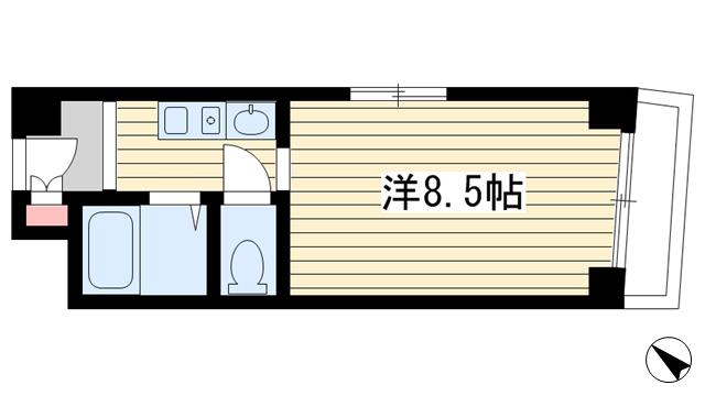 物件番号: 1025870560 ノベラ海岸通  神戸市中央区海岸通5丁目 1K マンション 間取り図