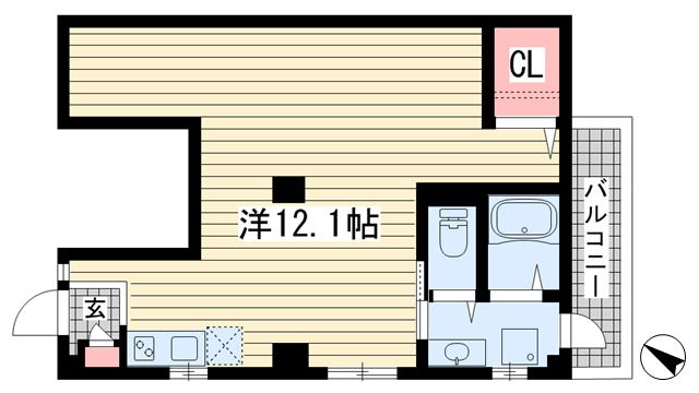 物件番号: 1025870572 南本町リーフハイツ  神戸市中央区南本町通5丁目 1R マンション 間取り図