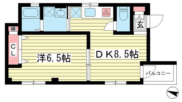 物件番号: 1025870615 リーフハイツ  神戸市中央区雲井通3丁目 1LDK マンション 間取り図