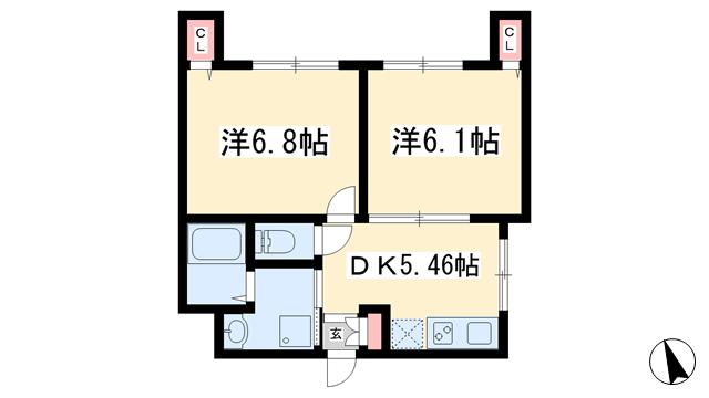 物件番号: 1025870639 宝星ビル  神戸市中央区雲井通3丁目 2DK マンション 間取り図