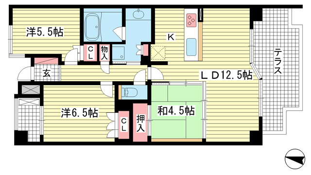 物件番号: 1025870705 ライオンズ新神戸山の手レジデンス  神戸市中央区旗塚通7丁目 3LDK マンション 間取り図