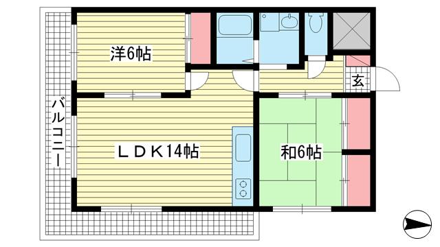 物件番号: 1025870787 グリーンハイツキシモト  神戸市中央区山本通4丁目 2LDK マンション 間取り図