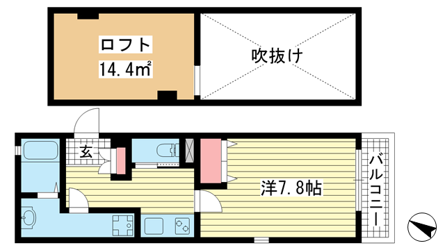 物件番号: 1025870828 ワコーレヴィアーノ神戸上筒井通WEST  神戸市中央区上筒井通5丁目 1K アパート 間取り図