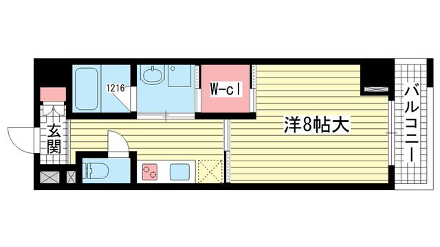 物件番号: 1025870864 Kobe Bonheur Residence  神戸市中央区生田町4丁目 1K マンション 間取り図