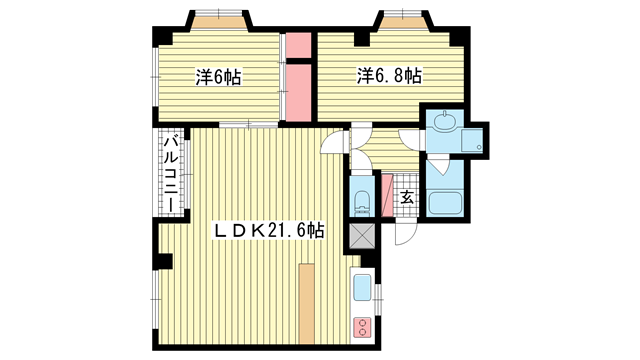 物件番号: 1025870875 NHエステート王子公園(旧:ハイム石塚  神戸市中央区大日通2丁目 2LDK マンション 間取り図