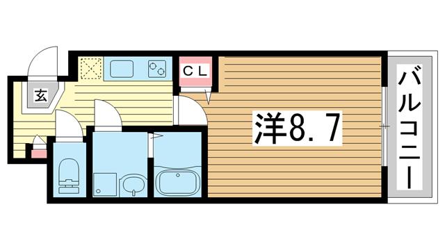 物件番号: 1025870884 ラージヒル神戸西  神戸市兵庫区西出町 1K マンション 間取り図