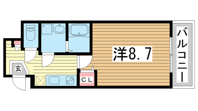 物件番号: 1025870885 ラージヒル神戸西  神戸市兵庫区西出町 1K マンション 間取り図