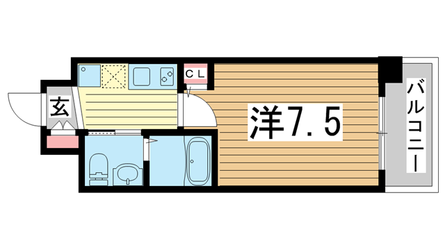 物件番号: 1025870890 ERCity's兵庫駅  神戸市兵庫区塚本通5丁目 1K マンション 間取り図