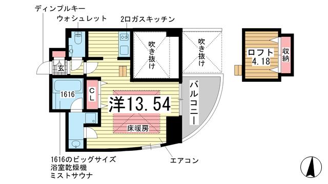 物件番号: 1025870919 ワイズコーポレーションビルディング  神戸市中央区下山手通2丁目 1R マンション 間取り図