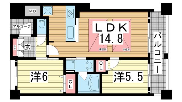 物件番号: 1025870982 サムティ三宮レガニール  神戸市中央区雲井通3丁目 2LDK マンション 間取り図