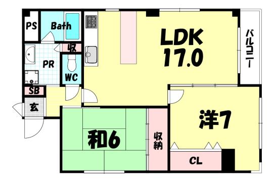 物件番号: 1025871073 メゾン二宮  神戸市中央区二宮町1丁目 2LDK マンション 間取り図