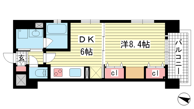 物件番号: 1025871140 KAISEI神戸海岸通第2  神戸市中央区海岸通2丁目 1DK マンション 間取り図
