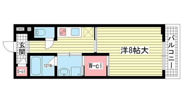 物件番号: 1025871196 Kobe Bonheur Residence  神戸市中央区生田町4丁目 1K マンション 間取り図