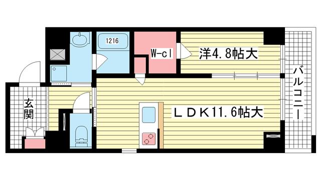 物件番号: 1025871197 Kobe Bonheur Residence  神戸市中央区生田町4丁目 1LDK マンション 間取り図