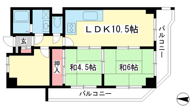 物件番号: 1025871205 みゆきハイム  神戸市中央区御幸通3丁目 3LDK マンション 間取り図