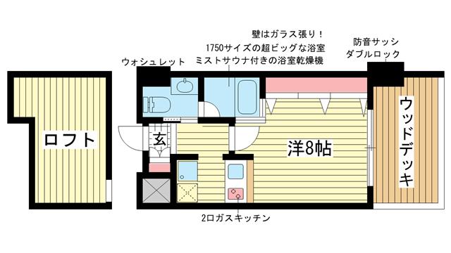 物件番号: 1025871233 WOB ROKKOHMICHI  神戸市灘区友田町3丁目 1K マンション 間取り図