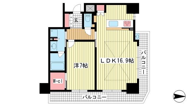 物件番号: 1025871275 ベリスタ神戸旧居留地  神戸市中央区海岸通 1LDK マンション 間取り図