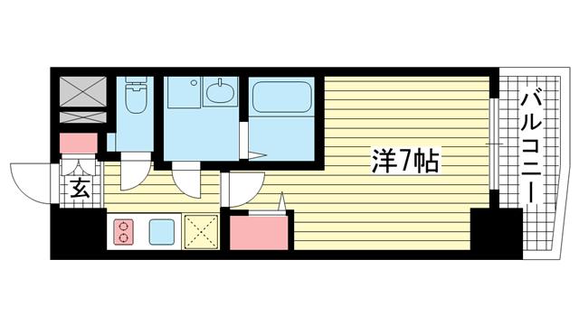 物件番号: 1025871317 ファステート神戸アモーレ  神戸市中央区割塚通2丁目 1K マンション 間取り図