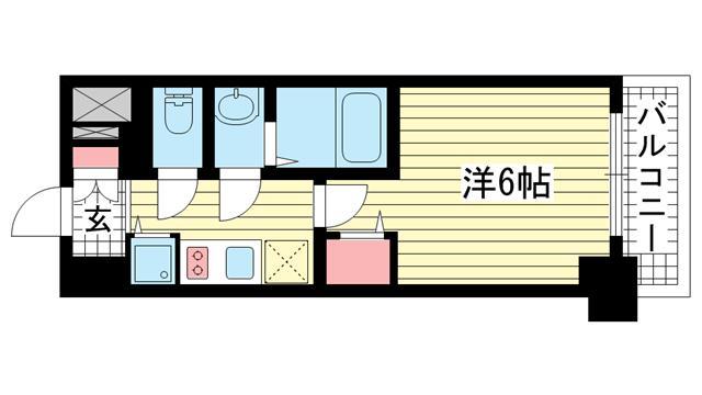 物件番号: 1025871334 ファステート神戸アモーレ  神戸市中央区割塚通2丁目 1K マンション 間取り図