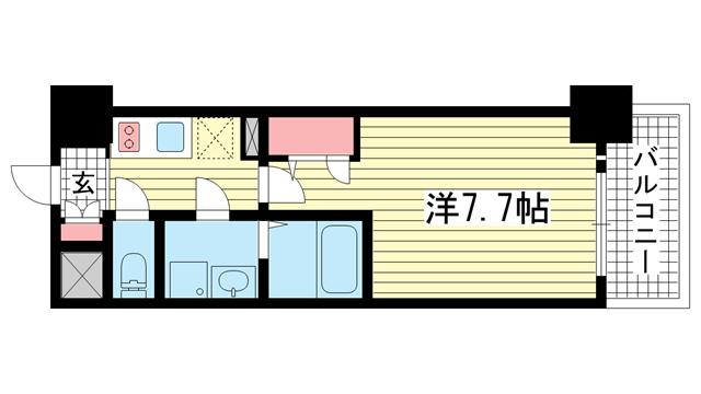 物件番号: 1025871409 エスプレイス神戸ウエストゲート  神戸市兵庫区駅前通4丁目 1K マンション 間取り図