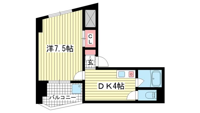 物件番号: 1025871443 アドモリモト花隈  神戸市中央区花隈町 1DK マンション 間取り図