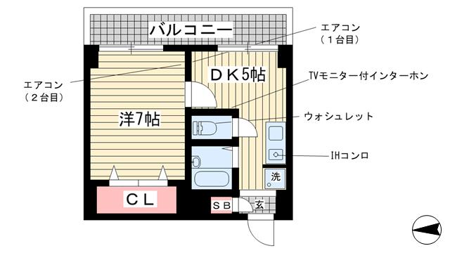 物件番号: 1025871492 サニーパレス神陵台  神戸市垂水区神陵台2丁目 1DK マンション 間取り図