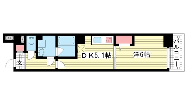 物件番号: 1025871788 バックス神戸WEST  神戸市兵庫区大開通2丁目 1DK マンション 間取り図