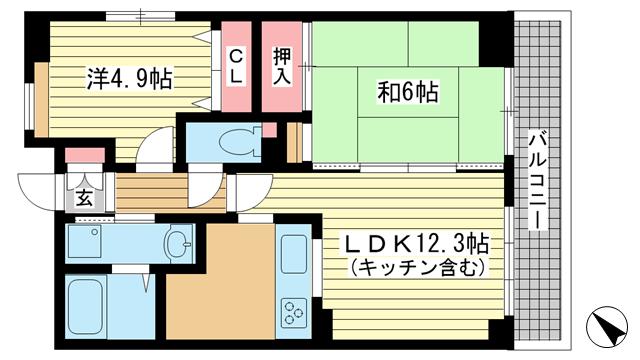 物件番号: 1025871841 北野フェニックス  神戸市中央区中山手通1丁目 2LDK マンション 間取り図