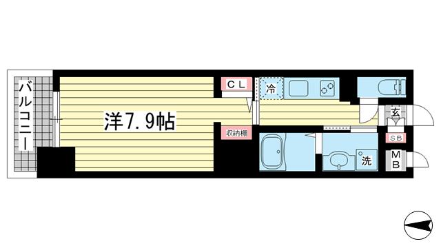 物件番号: 1025871844 ジアコスモ神戸三宮  神戸市中央区琴ノ緒町2丁目 1K マンション 間取り図