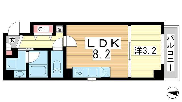 物件番号: 1025871867 シンプルライフ元町  神戸市中央区元町通4丁目 1R マンション 間取り図