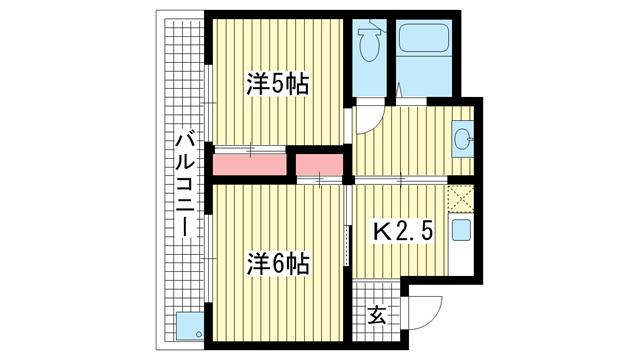 物件番号: 1025871973 新芳地ビル  神戸市中央区花隈町 2K マンション 間取り図