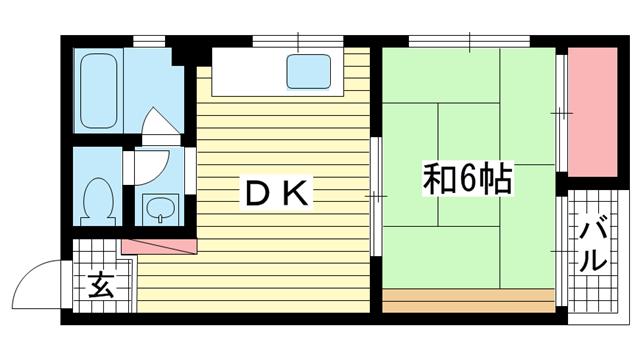 物件番号: 1025872006 シャトー金岡  神戸市中央区北長狭通5丁目 1DK マンション 間取り図