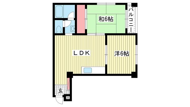 物件番号: 1025872007 シャトー金岡  神戸市中央区北長狭通5丁目 2LDK マンション 間取り図