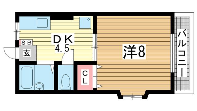 物件番号: 1025872255 タウンハイム須磨南  神戸市須磨区南町1丁目 1DK ハイツ 間取り図