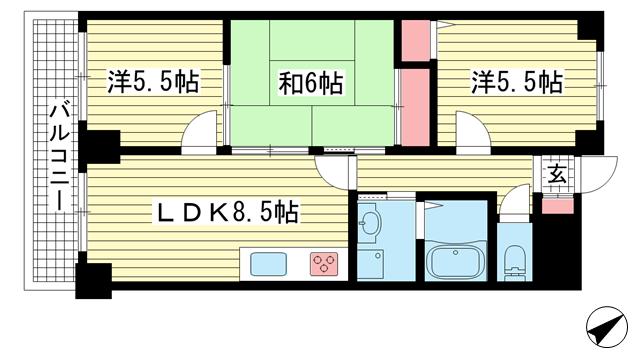 物件番号: 1025872298 ワコーレアプローズ春日野  神戸市中央区脇浜町3丁目 3LDK マンション 間取り図