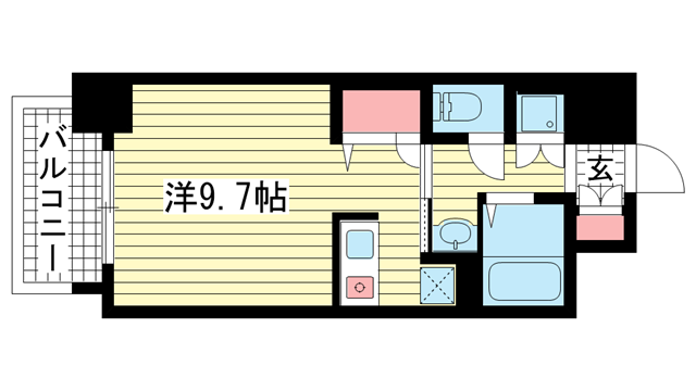 物件番号: 1025872344 スワンズコート新神戸  神戸市中央区生田町2丁目 1K マンション 間取り図
