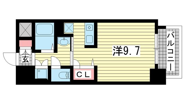 物件番号: 1025872345 スワンズコート新神戸  神戸市中央区生田町2丁目 1K マンション 間取り図