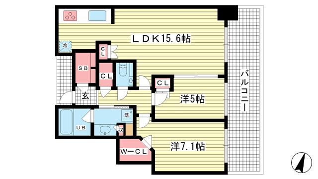 物件番号: 1025872400 シティタワー神戸三宮  神戸市中央区旭通4丁目 2LDK マンション 間取り図