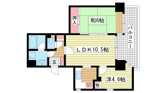 物件番号: 1025872432 サンビルダー北野弐番館  神戸市中央区加納町2丁目 2LDK マンション 間取り図