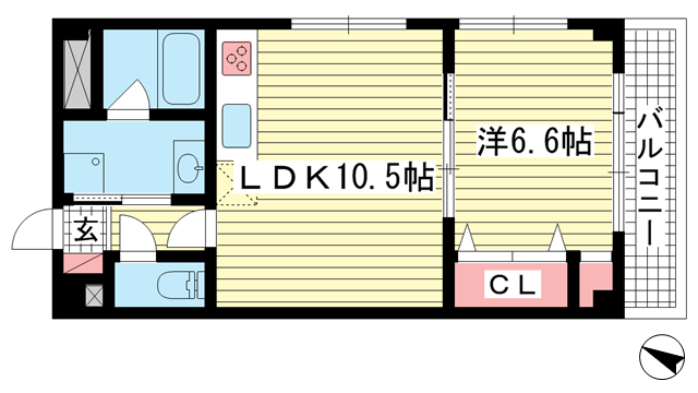 物件番号: 1025872438 メゾン ボヌール  神戸市中央区山本通4丁目 1LDK マンション 間取り図