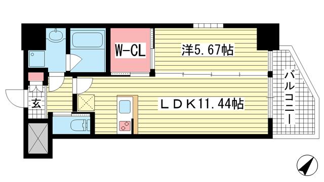 物件番号: 1025872618 プレジオ神戸WEST  神戸市兵庫区三川口町1丁目 1LDK マンション 間取り図
