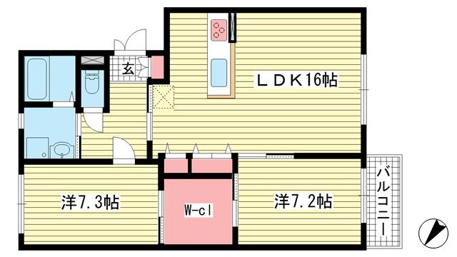 物件番号: 1025872640 サンハイツ六甲  神戸市灘区八幡町3丁目 2LDK マンション 間取り図