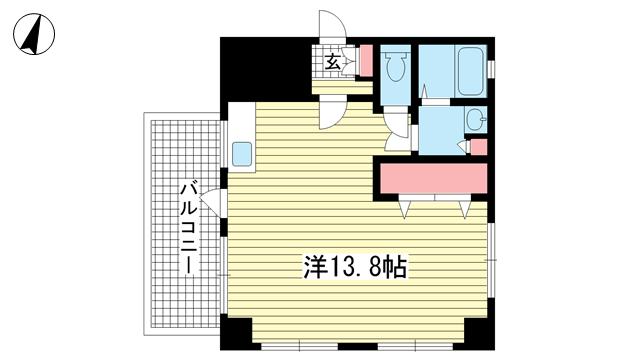 物件番号: 1025872795 甲南第5サンコーポラス  神戸市兵庫区新開地3丁目 1R マンション 間取り図