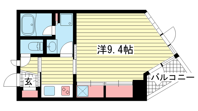 物件番号: 1025872801 アンリーヴ北野  神戸市中央区山本通2丁目 1K マンション 間取り図