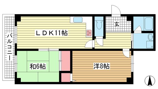 物件番号: 1025872811 メゾンボナミ  神戸市東灘区御影2丁目 2LDK マンション 間取り図