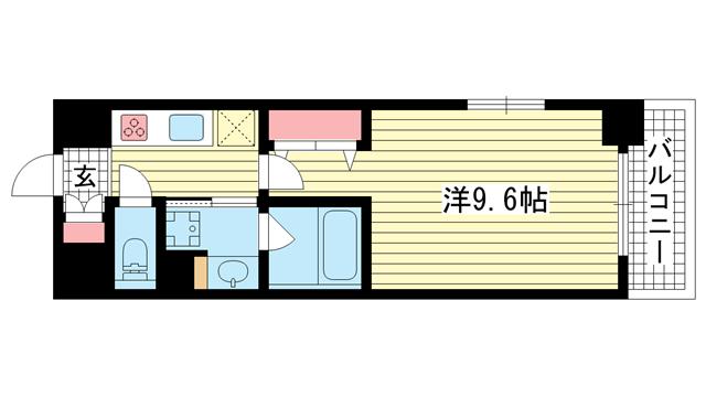 物件番号: 1025872817 マーベラスi  神戸市兵庫区駅南通1丁目 1K マンション 間取り図